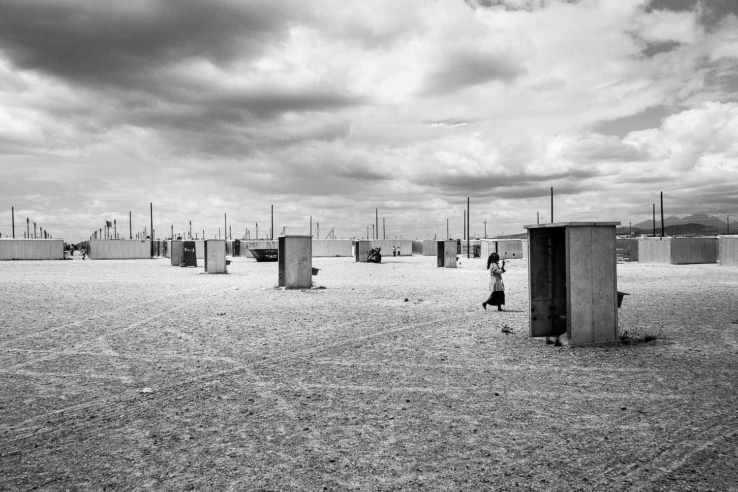 Free standing toilets built before the completion housing structures. One toilet for four households, Blikkiesdorp, 2010.