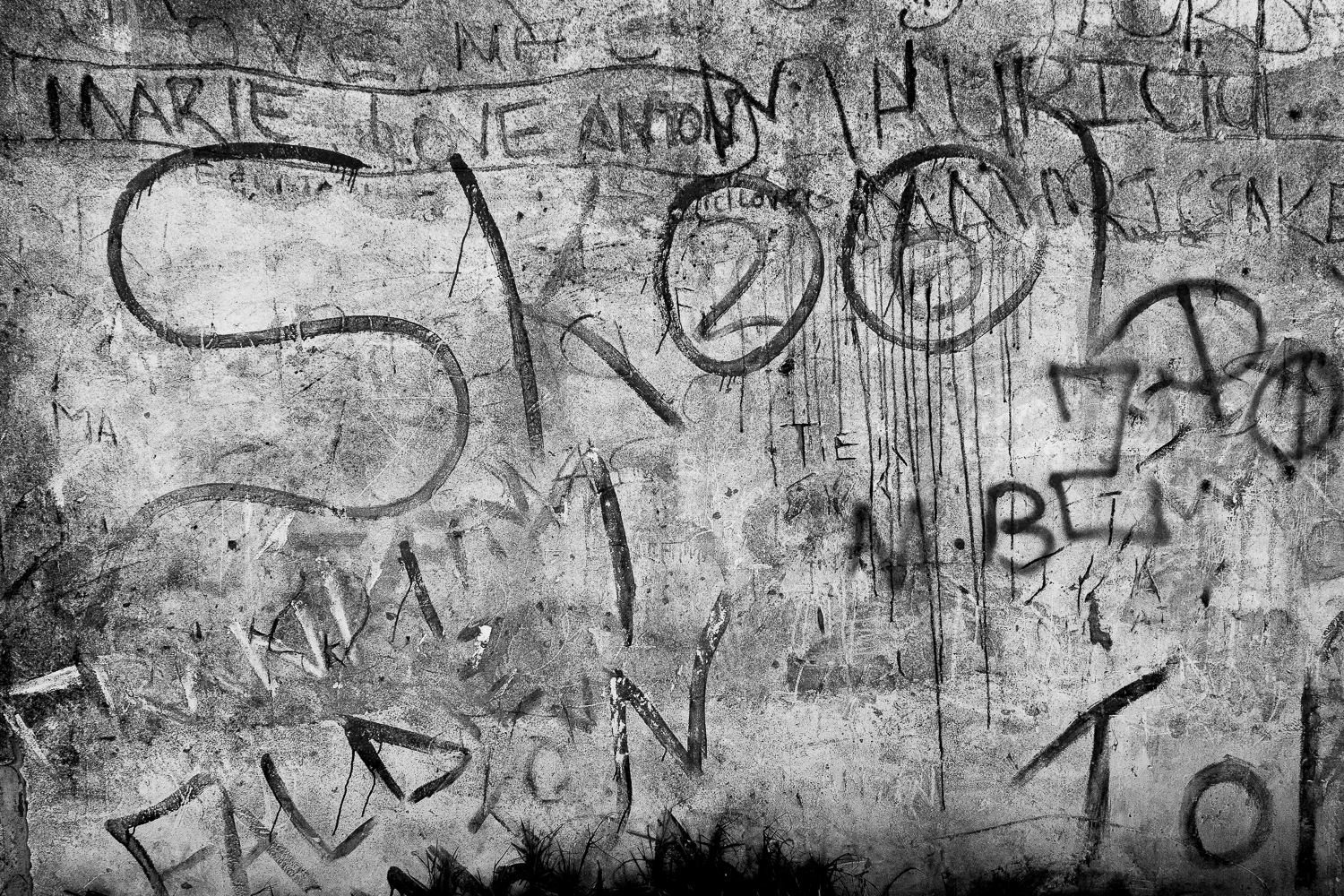 """Detail of wall with the word """"Skool"""" and gang related tags, Mitchell's Plain, 2013."""