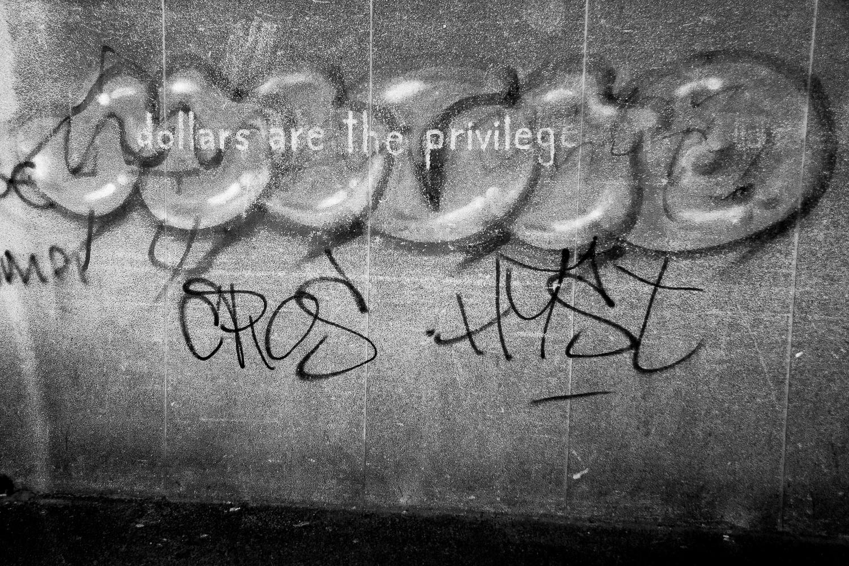 "Graffiti detail: ""dollars are the privilege"", Salt River, 2014."