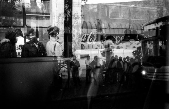 Commuters standing in line during a busdriver strike, Cape Town, 2010.